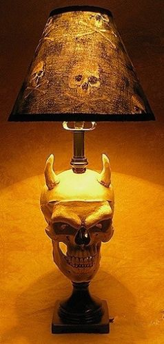 Desk Lamp with Devil Skull and Bone Shade