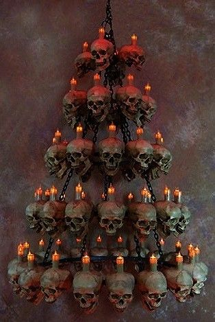 Five Tiered Life-Size Skull Chandelier with 60 Skulls