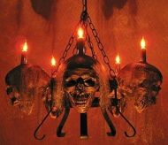 Life-Size Skull/Metal Chandelier with Five Corpsed Skulls